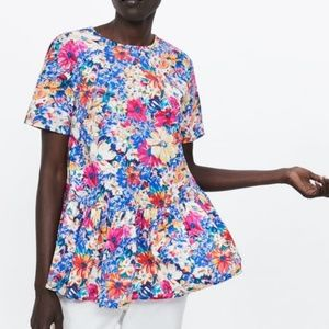 Zara Round Neck Floral Blouse Ruffle Hem 2183/241